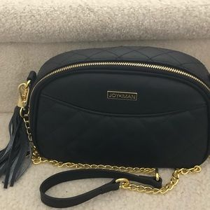 Joy & Iman Black leather crossbody bag w/2 straps